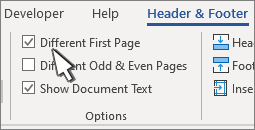 Header ribbon options with Different first page selected